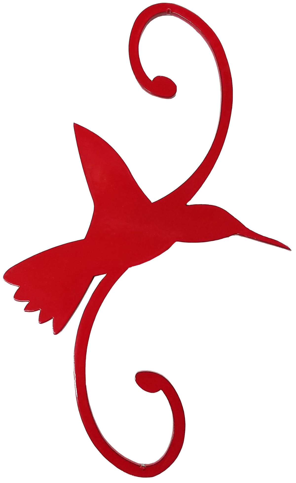 red powder coated decorative hummingbird hook