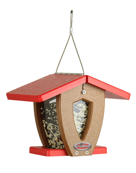 mini kettle moraine hopper feeder with red roof