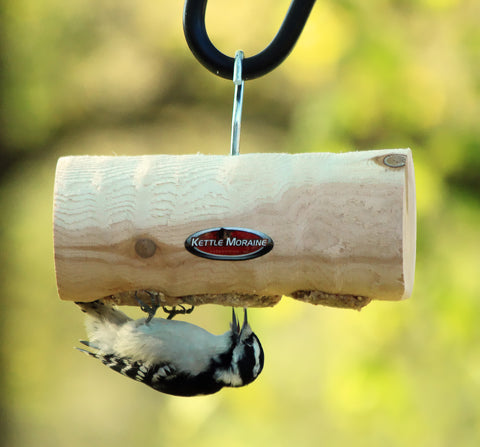mini clinger log feeder with woodpecker