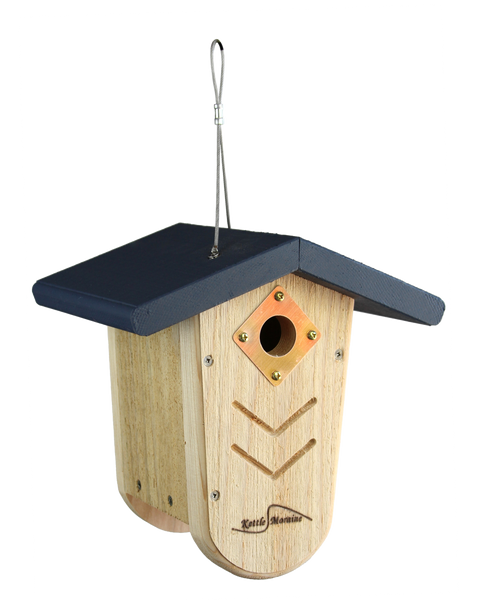 sturdy cedar bird house with navy roof