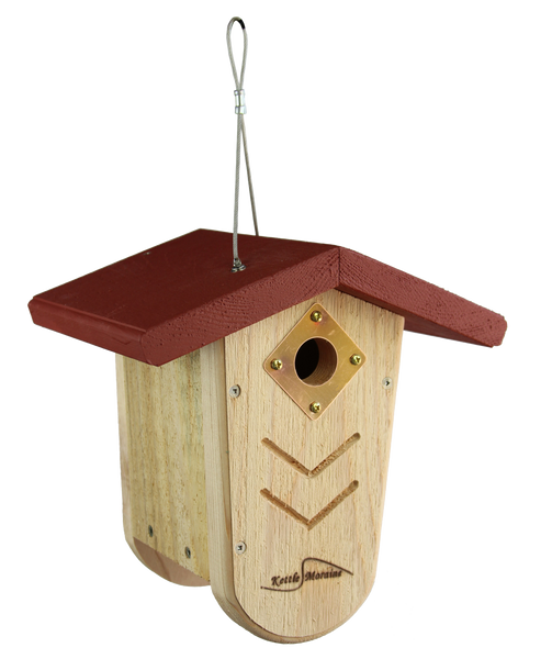 long lasting cedar nest box with red roof