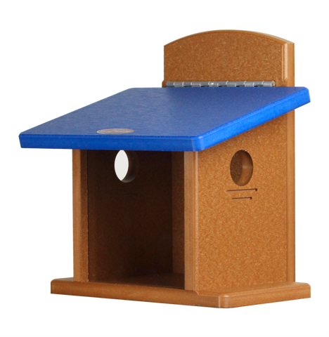 recycled bluebird feeder with blue roof