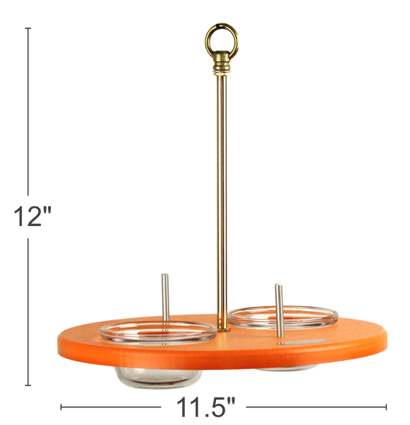 measurements for orange oriole feeder with two glass dishes