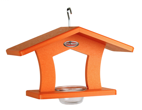 orange oriole cup feeder with roof