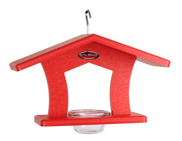 red single cup feeder with wide roof