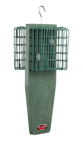 sturdy suet cage feeder with tail prop for woodpeckers