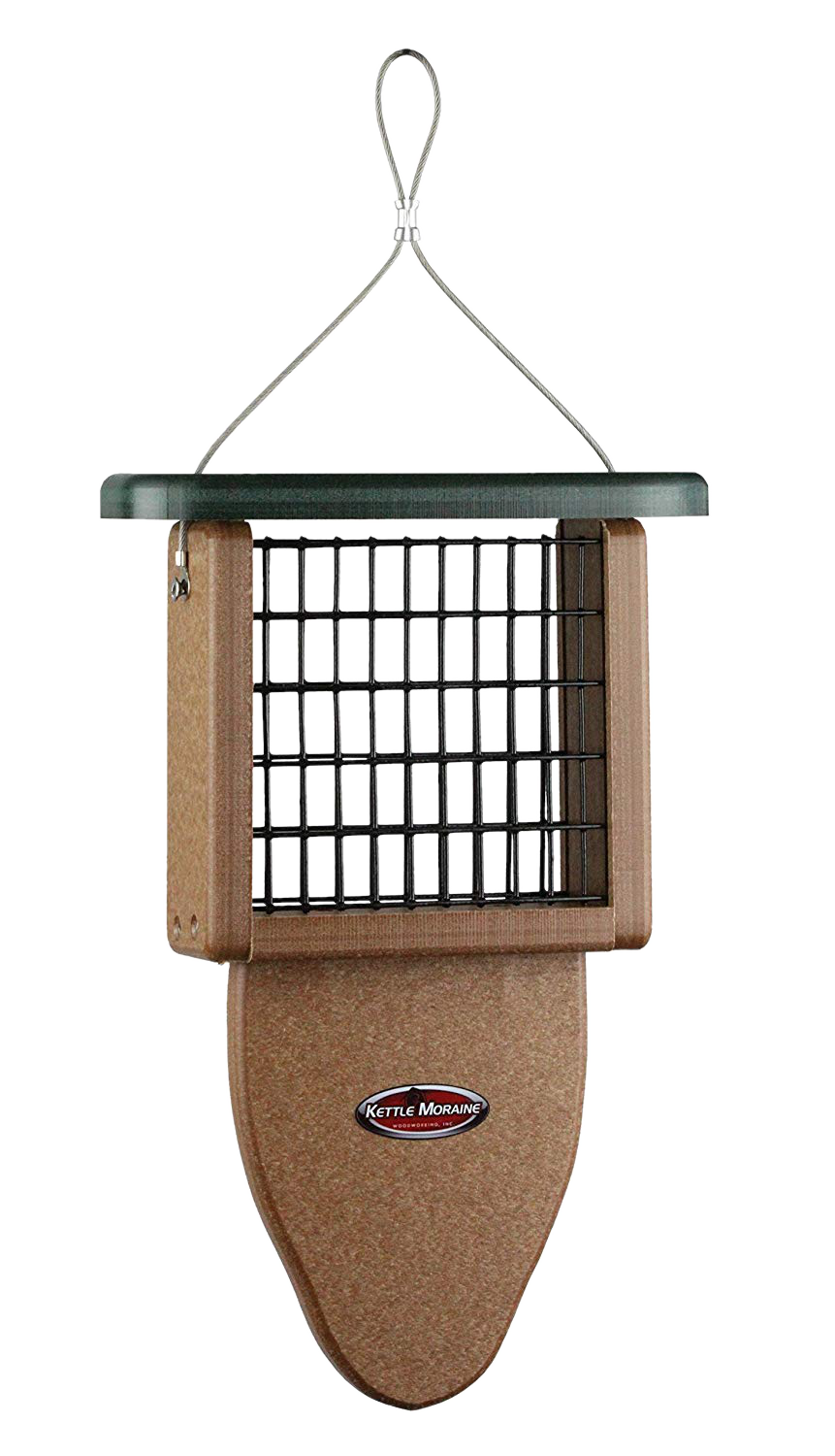 single kettle moraine recycled suet feeder with tail prop