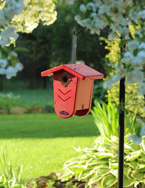 red weather proof bird house