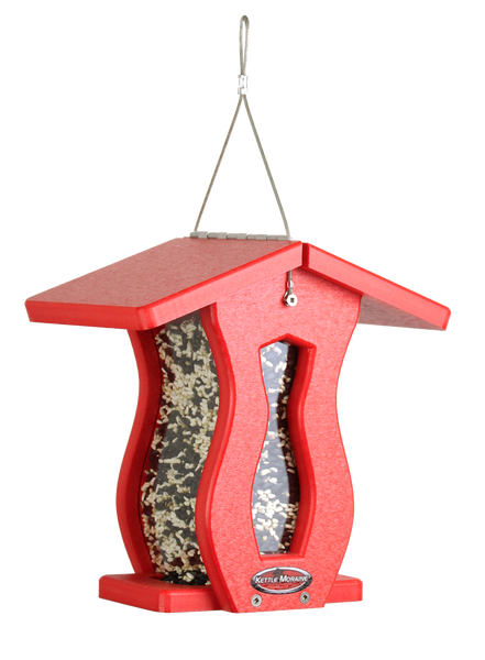 red hanging bird feeder for cardinals and finches