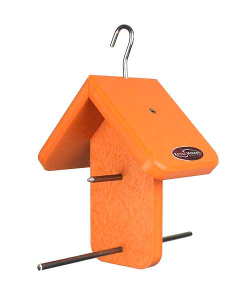 Orange kettle moraine oriole feeder with roof and perches