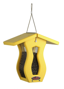 small yellow curved screen feeder with roof