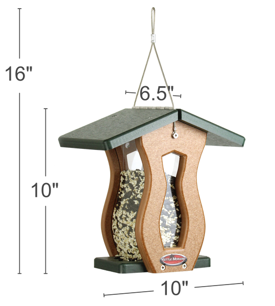 hanging heavy duty recycled bird feeder green roof with dimensions