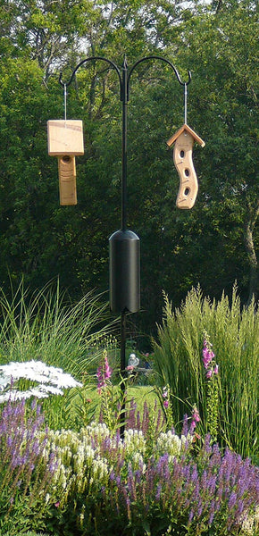 bird feeders on two arm pole kit