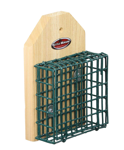 mounted cedar suet cage feeder