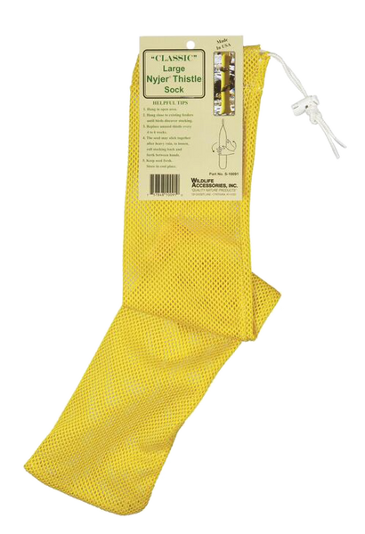 large yellow mesh finch feeder sock