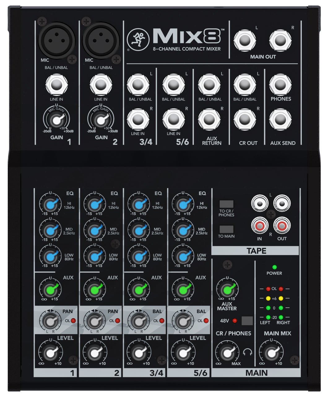 Mackie MIX8 8-channel Compact Mixer PA, Studio