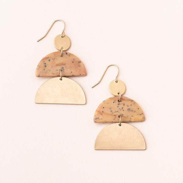 Stone Half Moon Earrings - Petrified Wood/Gold