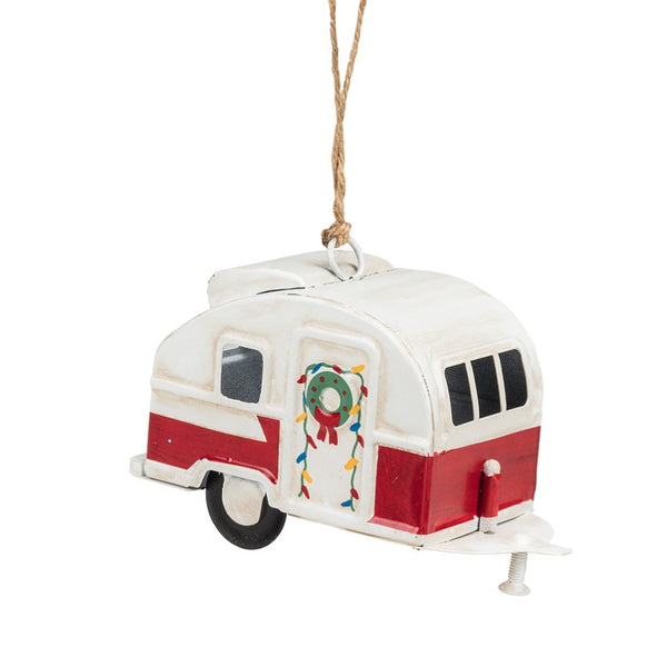 White and Red Camper Ornament