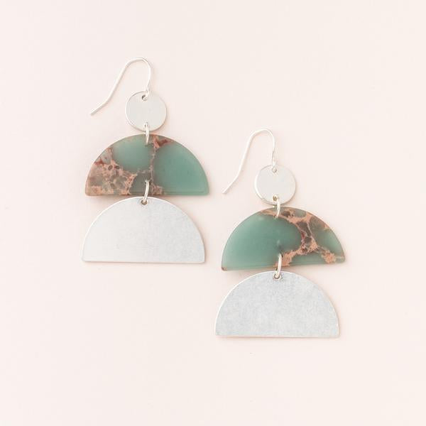 Stone Half Moon Earrings - Aqua Terra/Silver