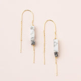 Rectangle Stone Earrings - Howlite/Black/Gold