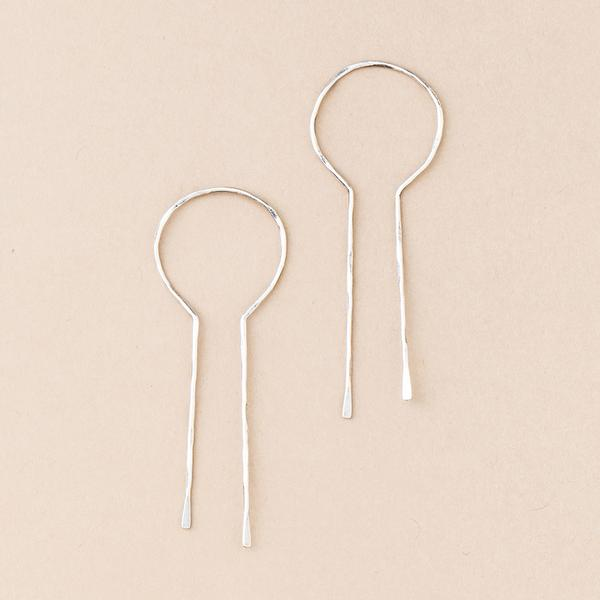 Equinox Keyhole Hoop Earrings - Silver