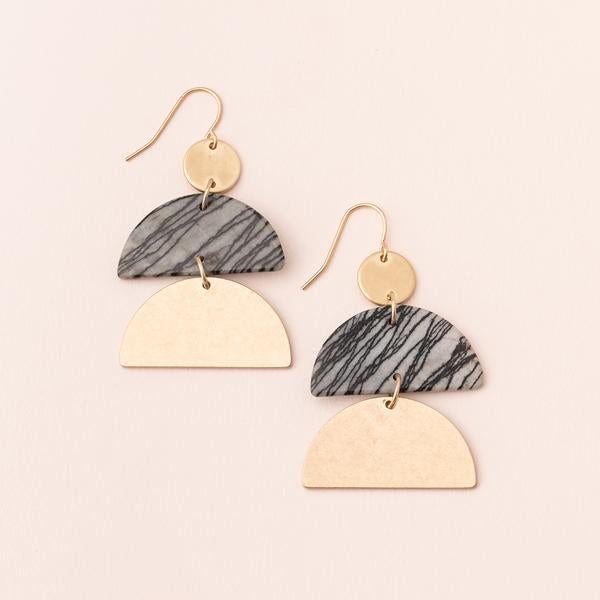 Stone Half Moon Earrings - Picasso Jasper/Gold