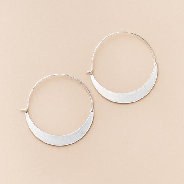 Crescent Hoop Earrings - Silver
