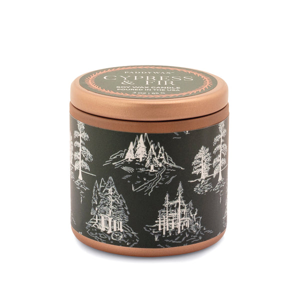 Cypress & Fir Copper Tin Candle - Green