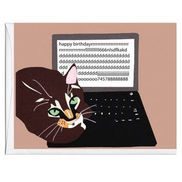 Cat On Keyboard Card