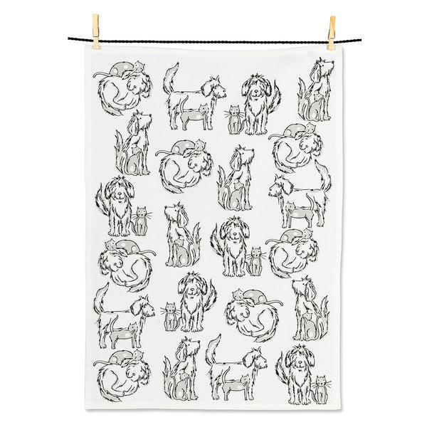 Shaggy Dog & Cat Tea Towel