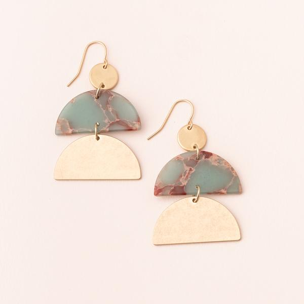Stone Half Moon Earrings - Aqua Terra/Gold