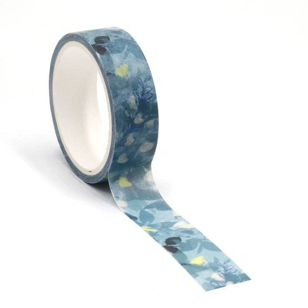 Dark Green Watercolor Flower Washi Tape