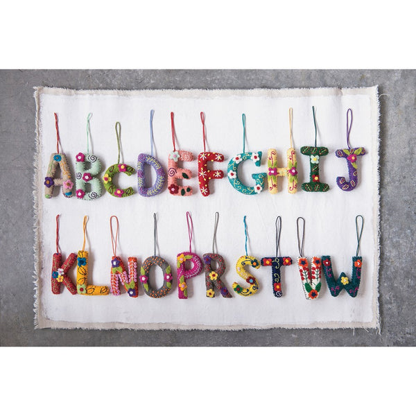 Felt Embroidered & Appliqued Alphabet Ornament