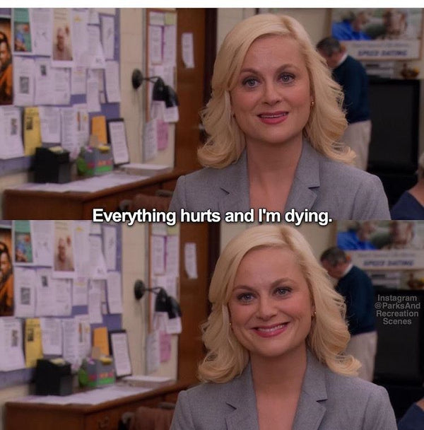 "Leslie Knope meme, ""Everything hurts and I'm dying."" about period pain"