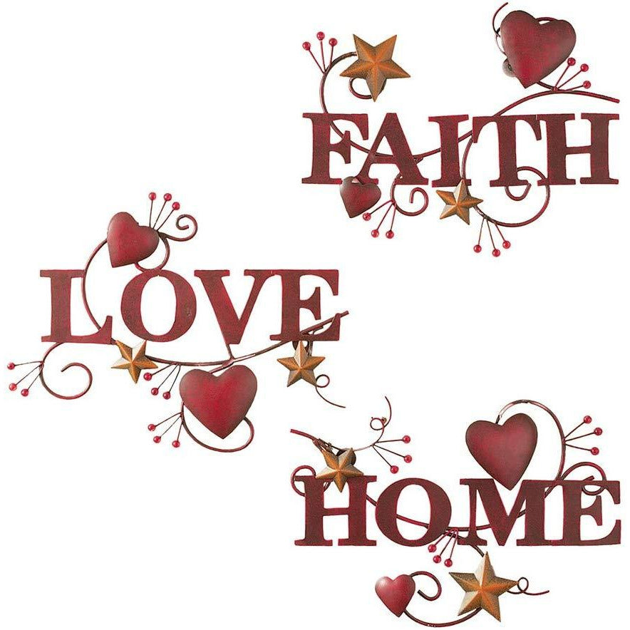 Red Home, Love And Faith Metal Wall Art - Set De 3 - TODOENCARGO.COM