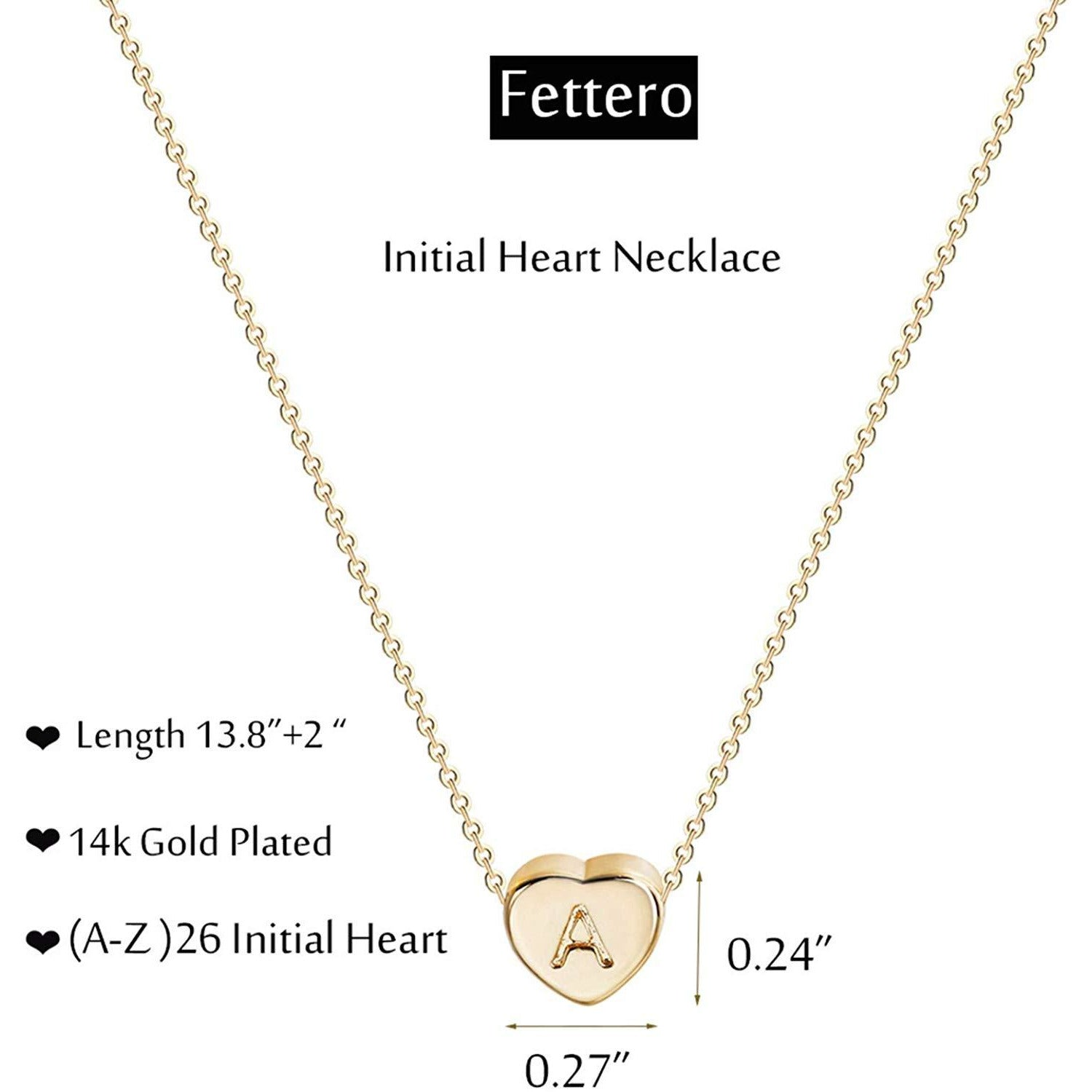 Tiny Gold Initial Heart Necklace-14k Gold Filled Handma... - TODOENCARGO.COM