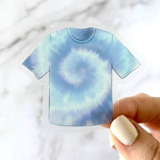 Stickers, Blue Tie-Dye T-Shirt