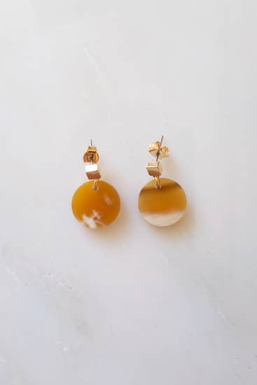 Nho Be Circle Buffalo Horn Stud Dangle Earrings, Honey