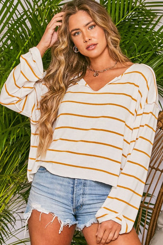 Kensley Top, Ivory/Mustard