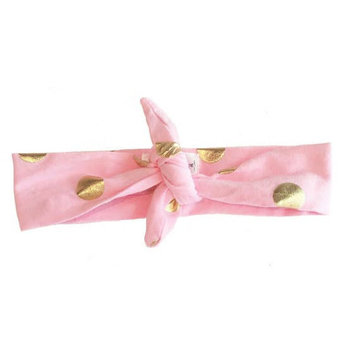 Knotted Headband, Pink Polka