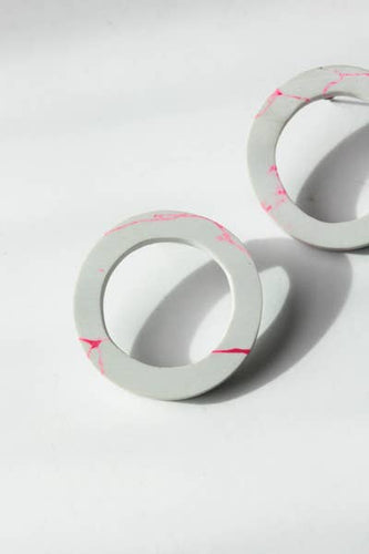 Clay Circle Earrings, White & Pink