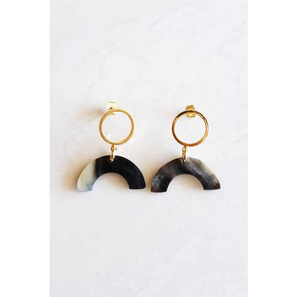 Hanh Tinh Buffalo Horn Geo Icon Post Earrings, Dark