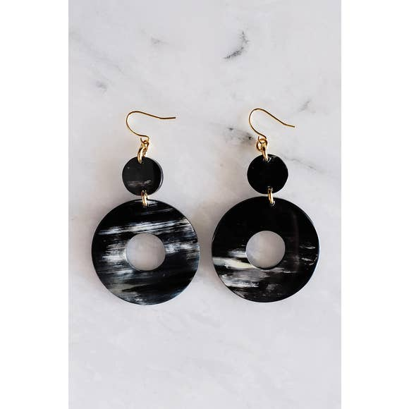 Hoan Toan Buffalo Horn Donut Dangle Earrings, Dark