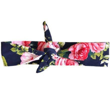 Load image into Gallery viewer, Navy Floral Knotted Headband