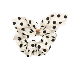 Scrunchie With Tie, White Polka Dot