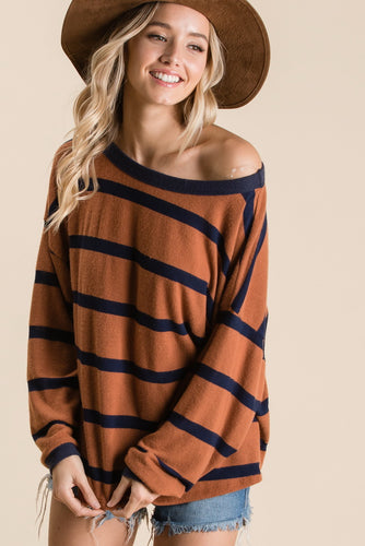 Mia Top, Brown/Navy