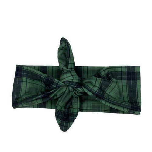 Knotted Green Plaid Headband