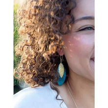 Load image into Gallery viewer, Oblong Leaf Earrings, Teal