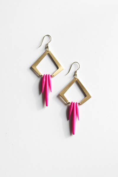 Colorful Quill Earrings, Pink