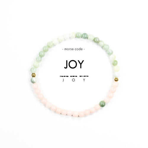 Morse Code Joy Bracelet, Light Green & Light Pink